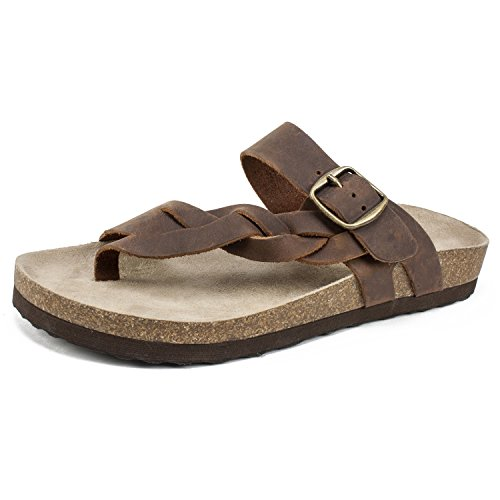 WHITE MOUNTAIN Shoes Honor Women's Sandal, Brown/Leather, 7 M by WHITE MOUNTAIN