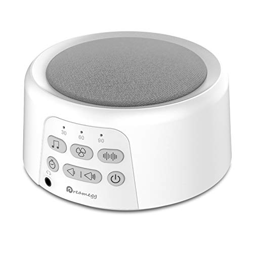 Dreamegg D3 White Noise Machine - Rechargeable Sound Machines for Sleeping, 24 Non-Looping HiFi Sounds, Continuous or Timer, Portable Sleep Machines for Baby Adults Travel Office Privacy (White)