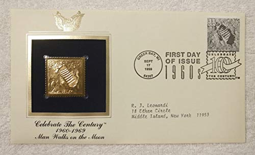 (Man Walks on the Moon - Celebrate the Century (The 1960s) - FDC & 22kt Gold Replica Stamp plus Info Card - Postal Commemorative Society, 1999 - Apollo 11, July 20, 1969, Neil Armstrong, Footprint )