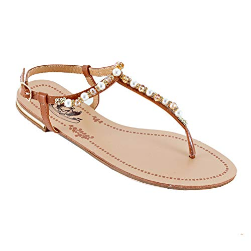(Guilty Heart - Womens Sparkle Rhinestone Sling Back Summer Casual Flat Thong Sandal (8 M US, Tanv1 Pu))