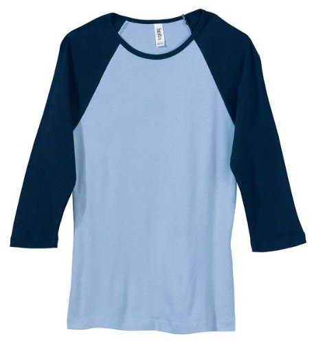 Bella Canvas Ladies' Baby Rib 3/4-Sleeve Contrast Raglan T-Shirt - BABY BLUE/NAVY - M