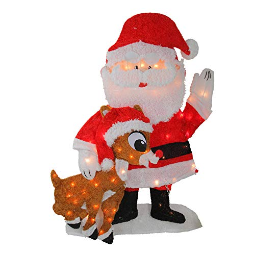 Rudolph the Red-Nosed Reindeer PW 20307 Waving Santa Claus and Rudolph Outdoor Decoration - 32