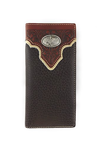 Men's Western Rodeo Genuine Leather Concho Bifold Long Wallet (Riding Cowboy, Coffee) -