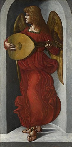 The High Quality Polyster Canvas Of Oil Painting 'Associate Of Leonardo Da Vinci-An Angel In Red With A Lute,1490-9' ,size: 8x16 Inch / 20x42 Cm ,this Best Price Art Decorative Canvas Prints Is Fit For Laundry Room Decor And Home Artwork And Gifts (Seat Work Rugged Roll)