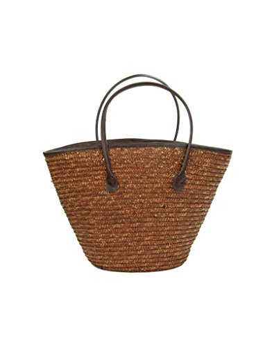 Home Line Bolso Capazo de fibra natural (50x26x30 cm) color chocolate