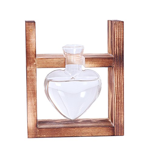 Homyl European Retro Hanging Glass Tabletop Flower Vase Plants Hydroponic Pot Love Heart Shaped Beakers with Wooden Stand Home Kitchen Dining Bar Decor - As picture show,  1 Beakers