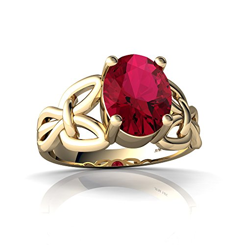 (14kt Yellow Gold Lab Ruby 9x7mm Oval Celtic Knot Ring - Size 6)