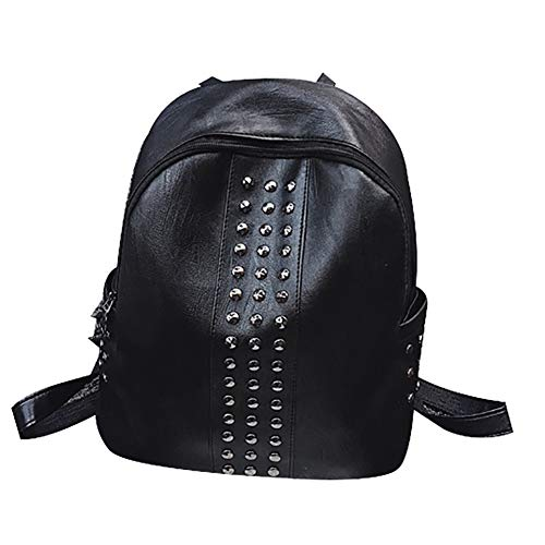 Slendima Faux Leather Cool Rivet Backpack,Large Capacity Lightweight Women Travel School Daypack by Slendima