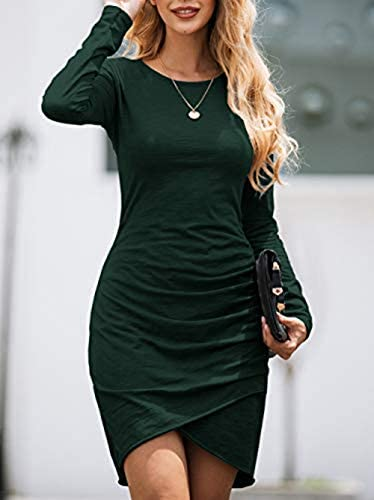 BTFBM Women Fashion Ruched Elegant Bodycon Long Sleeve Wrap Front Solid Color Casual Basic Fitted Short Dress