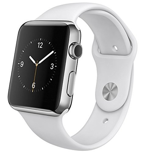 Apple Watch 42Mm Stainless Steel Case   White Sports Band