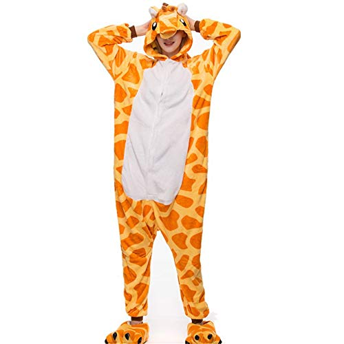 Unisex Adult One Piece Animal Pajamas Onesie Cosplay Giraffe Costume(Yellow-Medium)