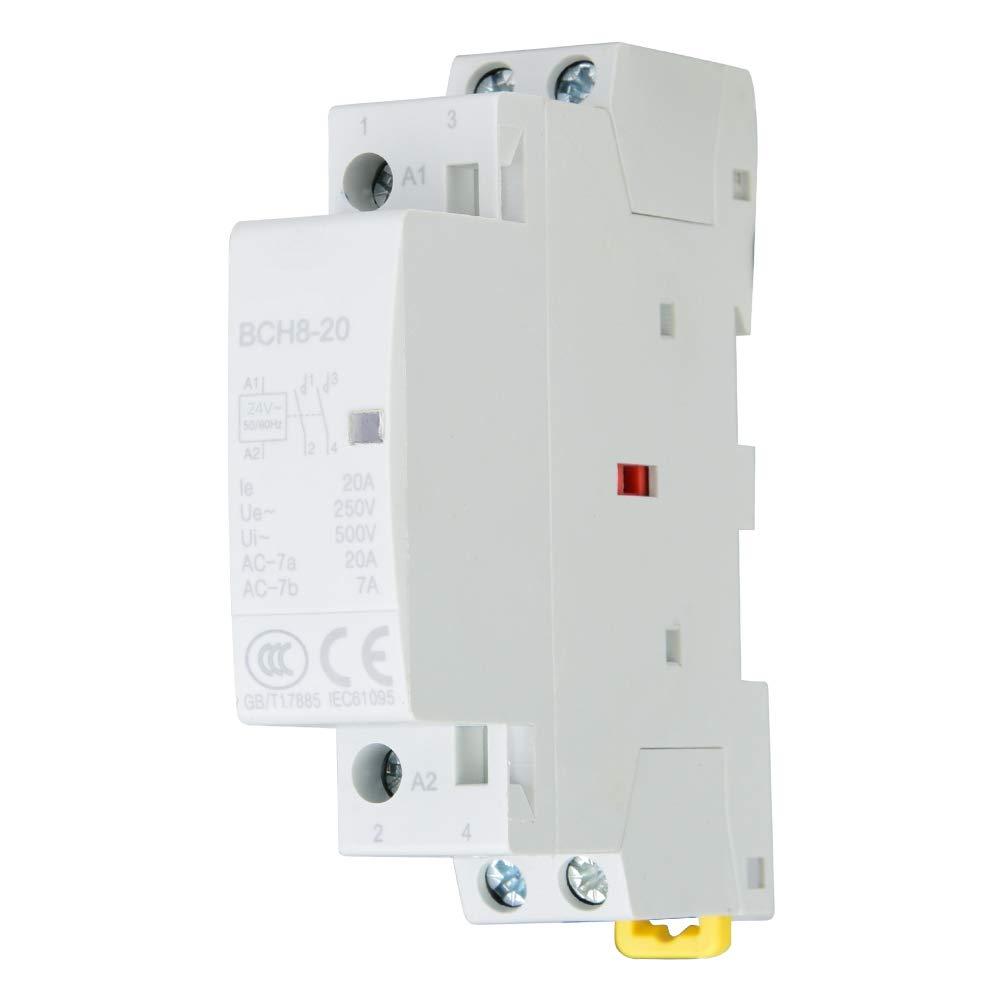 20A Din Rail AC Contactor 2 polos, Din Rail Contactor AC 2NO 50 / 60HZ(24V)
