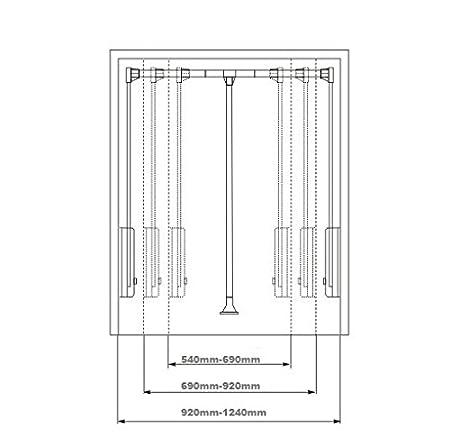 Perchero abatible para armario, ajustable con retorno suave, 830mm to 1150mm