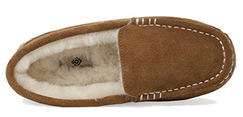 Sogno Coppie Donna Auzy Pelle Di Pecora Mocassini Invernali Pantofole Chesnut