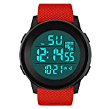 XBKPLO Mens Digital Watch,Sport Multifunction Waterproof Military Analog Wrist LED Alarm Clock Watches Concise TPU Silicone Strap (Red)