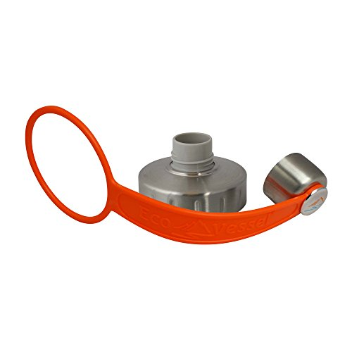 EcoVessel 2-Piece Screw Cap - Silver with Orange Strap by EcoVessel