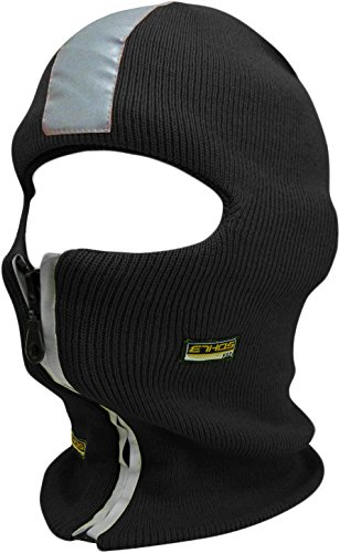 KBH-15 BLK Safety Reflective Balaclava Mask with Adjustable Zipper Hat Skull Cap -