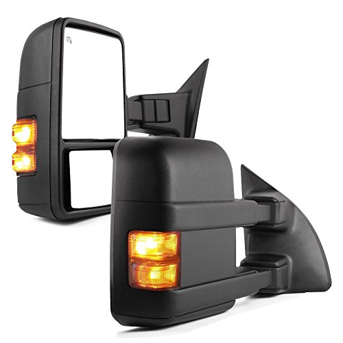 (YITAMOTOR Towing Mirrors for 99-07 Ford F250/F350/F450/F550 Super Duty, 01-05 Excursion Pair Set Extendable Smoke Power Heated with LED Signal Light Side Mirrors)