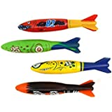 Dive torpedo,Glides Under Water, Swimming pool throwing torpedo (4-pack)