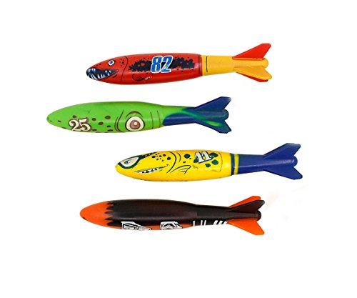 Dive torpedo,Glides Under Water, Swimming pool throwing torpedo (4-pack) (Diving Rockets)