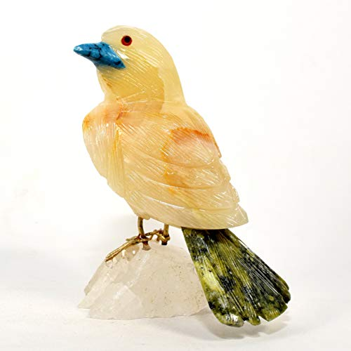 88mm Caramel Onyx Sparrow on Clear Quartz Stand Natural Collectible Statuette Decorative Mineral Figurine Crystal Sculpture Hand Carved Stone Bird - Peru ()