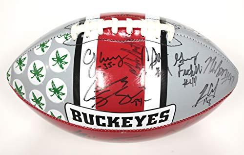 Ohio State Buckeyes 2016 Team Signed Autographed Logo Football Meyer Barrett Lattimore Ward Nick Bosa
