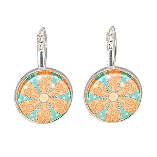 Créative Perles - Boucles d'oreilles Cabochon rond retro fleur - Orange