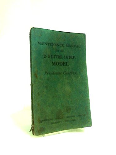Synchromesh Gear - Maintenance Manual for the Armstrong Siddeley 18 H.P. 2.3 Litre Motor Car With Synchromesh Gearbox