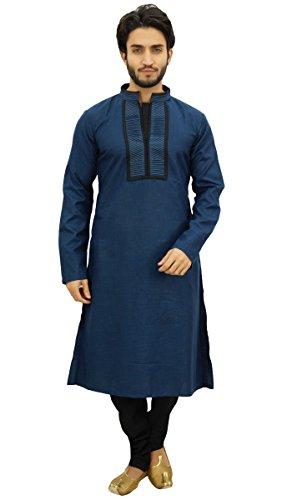 Atasi Men's Blue Designer Kurta Pyjama Set Long Cotton Punjabi Shirt-XXX-Large