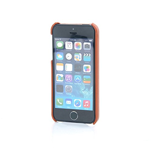 MadCase® Elegante Apple iPhone SE/Apple iPhone 5S/Apple Iphone 5 PREMIUM PU-Leder Back Case Cover in Retail Pack – Orange