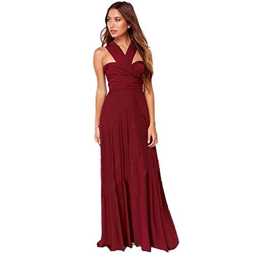 oblicua personalidad de la moda de las mujeres cruzar de regreso por la falda del vestido del vestido de la variedad piso Wine Red