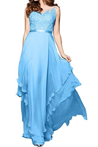 Blau Herzform lang Abendkleid Elegant Damen Knopf Applikation Guertel Ballkleid gedeckt Aermellos Tuell Spitze Chiffon Ivydressing Partykleid qApZnawRx