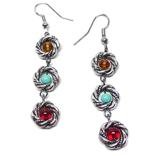 Twisted Rings Pewter - Pewter Twisted Circle Drop Earrings Red Sea Foam Amber-Color Glass
