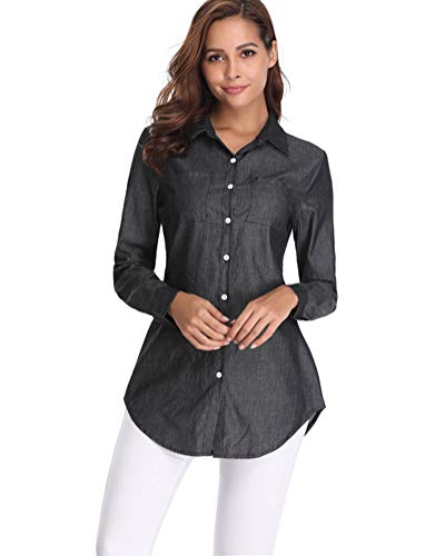 - fuinloth Women's Chambray Button Down Shirt, Long Sleeve Cotton Blouse, Long Jeans Tunic Top Black X-Large