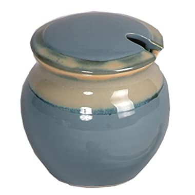 Tumbleweed Honey Pot; Light Blue Honey Keeper; Ceramic Honey Jar