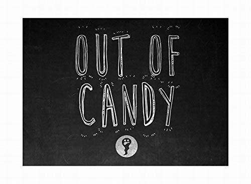 LoMall Out of Candy Print Ghost Picture Chalkboard Design Halloween Seasonal Decoration Sign Tin Metal Wall Decor 8x12