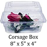 """Boutonniere Flower Box Clear Prom Wedding Corsage Craft Container w/ Crafting eBook (8"""" x 5"""" x 4"""", 10 Count)"""