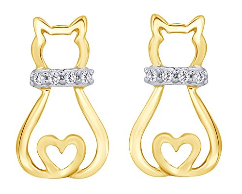 Round Cut White Diamond Accent Sitting Kitty Cat Heart Stud Earrings in 14K Yellow Gold Over Sterling Silver (Earrings Gold Diamond 14k Heart)