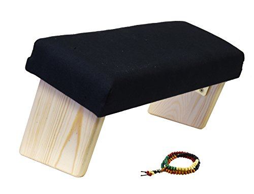 Mudra Crafts Portable Wood Yoga Seiza Kneeling Meditation Bench Folding Stool Padded Cushion Angled Seat (Black)