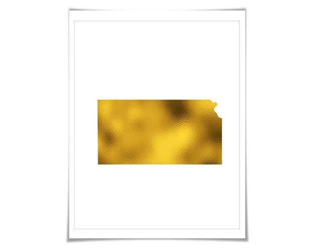 Amazon Com Kansas State Map Gold Foil Art Print 7 Foil Colours 3