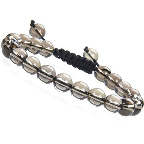 (Massive Beads A Grade Natural Semi Precious Gemstone Bracelet Birthstone Healing Crystal Round Beads Bracelet Adjustable Beaded Bracelet Unisex (Smoky Quartz))