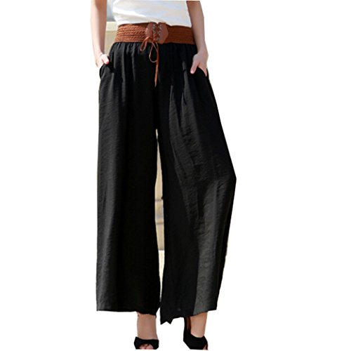 Lisaforu Womens High Waist Solid Color Loose Long Wide Leg Palazzo Gaucho (Girls Flare Leg Twill Pants)