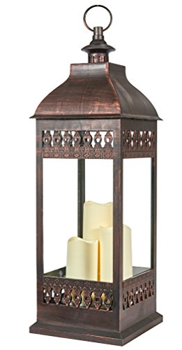 Smart Living San Nicola Triple LED Candle, 28-Inch Tall, Antique Bronze, With Durable Poly Construction With Real Glass and Metal Hanging Loop, Powered By Three Integrated LEDs, 80071 (Triple Led Pillar)