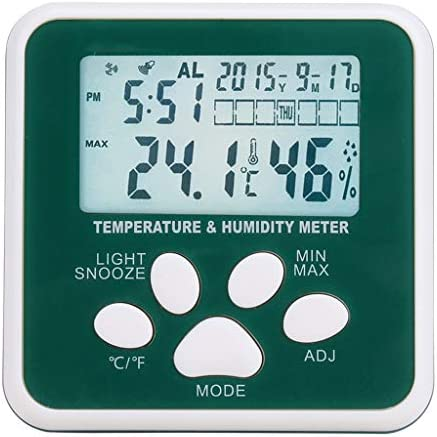 CHenXy デジタルミニ温度計、湿度計、高精度工業用家庭用屋内電子体温計バックライト、事務所、児童室 湿度計温度計 (Color : Green)