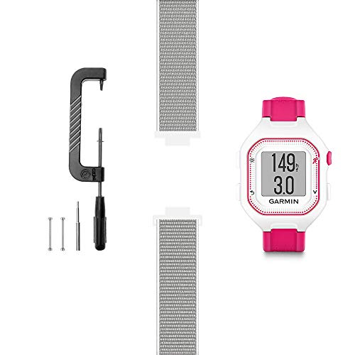 C2D JOY Compatible with Garmin Forerunner 25 (Small Version) Replacement Bands with Pins and Pin Removal Tool, Sport Mesh Band Soft, Breathable Nylon Weave - 13# Seashell, Medium