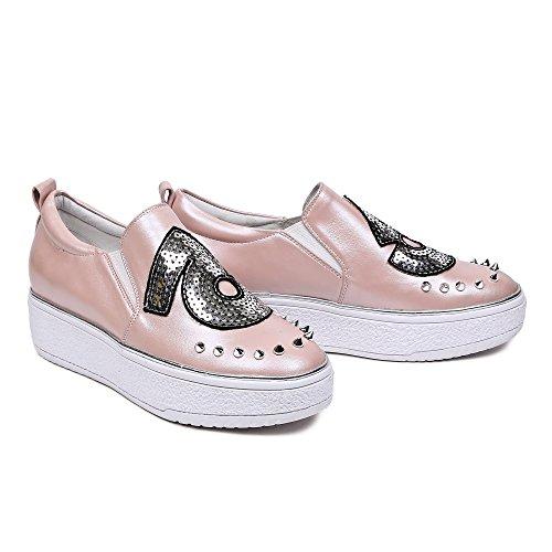 Minivog Dames Platte Hoogte Toenemende Loafer Schoenen Roze