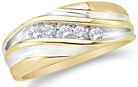 Size - 9.5 - 10k Yellow and White Two 2 Tone Gold Five 5 Stone Channel Set Round Cut Mens Diamond Wedding Ring Band (1/4 cttw)