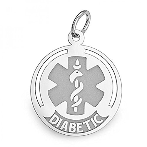 PicturesOnGold.com Sterling Silver Round Diabetic Medical ID Charm or Pendant - 1/2 Inch X 1/2 Inch ()