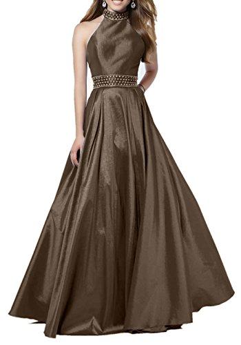 Abendkleider Partykleider Braut Satin Jugendweihe mia Kleider Neckholder Ballkleider Damenmode Damen Langes Braun Formal La qvU5YwHxq