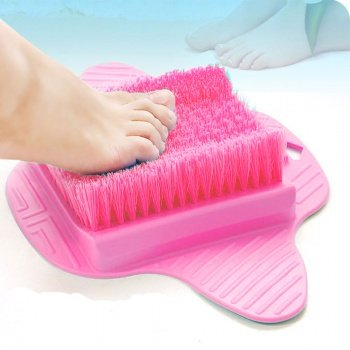 Healthstar Foot Massager Scrubber for Shower Floor - Exfoliating Bristles, Easy to Clean and Use, Hangable Scrub Pad (Pink)